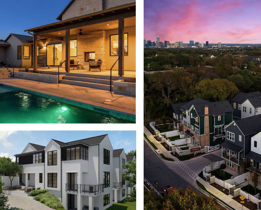 collage of luxury farmhouse pool patio, a luxury modern architecture home, and townhomes.